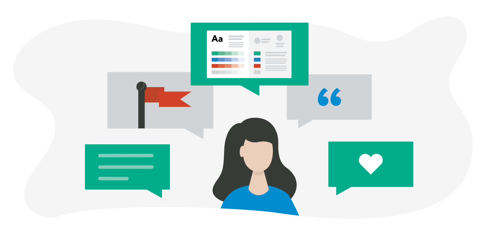 Image of woman with images of web design principles for brand storytelling