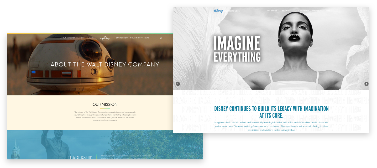 Screenshots from The Walt Disney Company (left) and Disney Ad Sales (right).