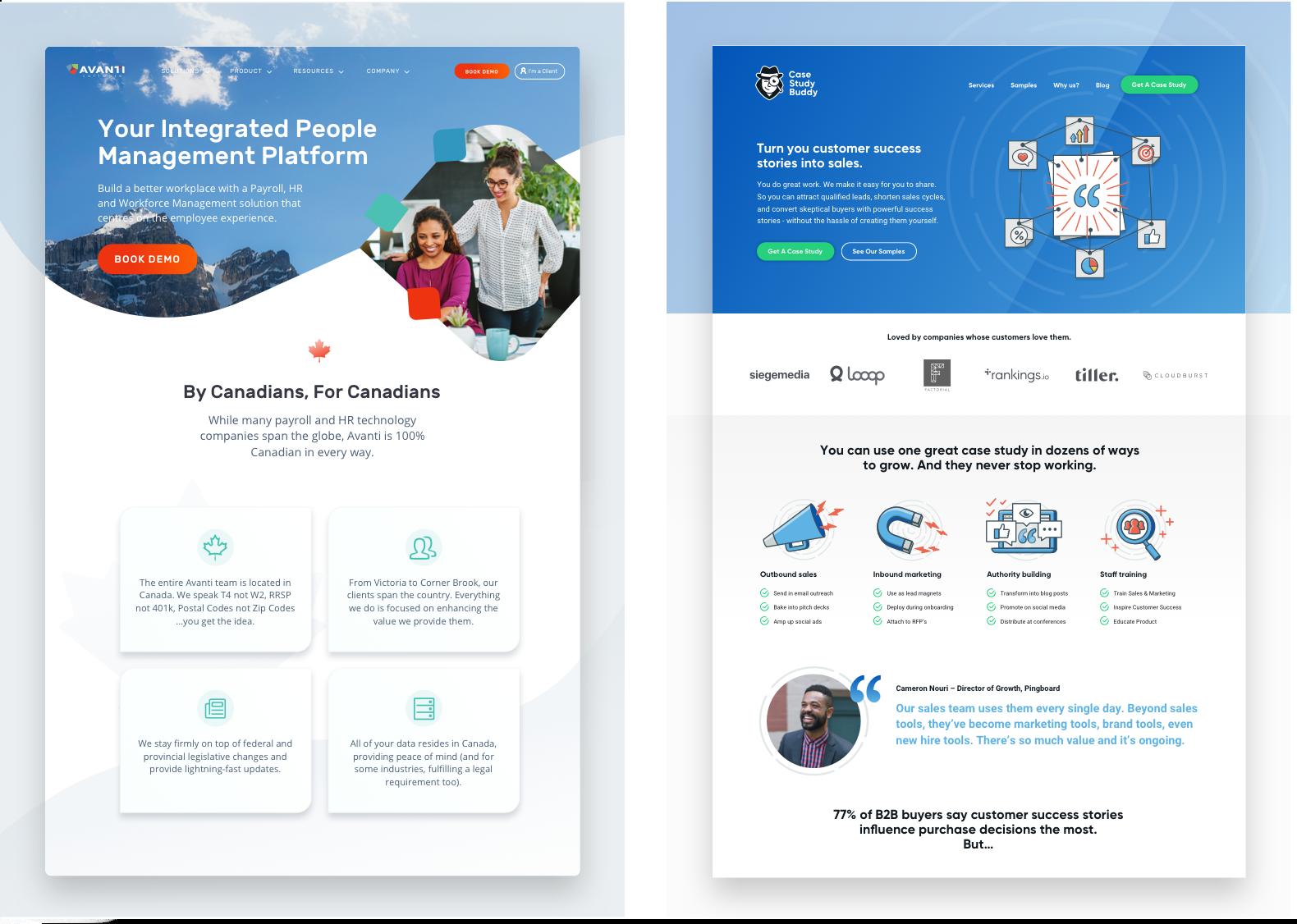 Avanti Software and Case Study Buddy websites - designed by Tiller.