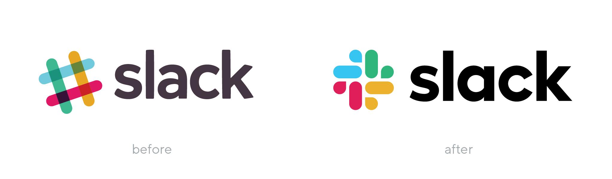 Slack logo before and after rebranding
