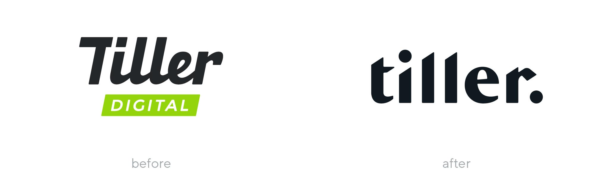 Tiller logo before and after rebranding
