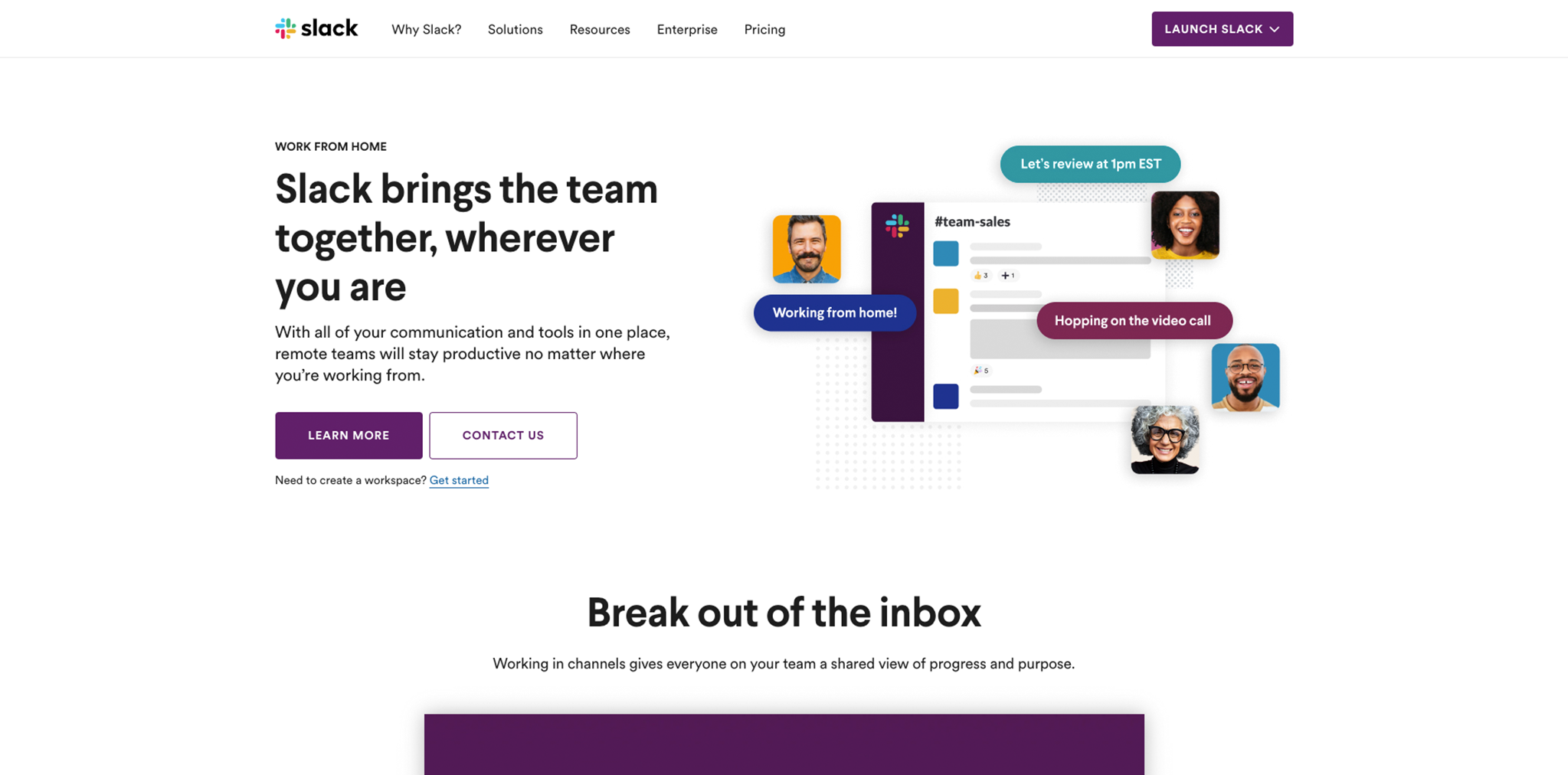 Screenshot of Slack homepage