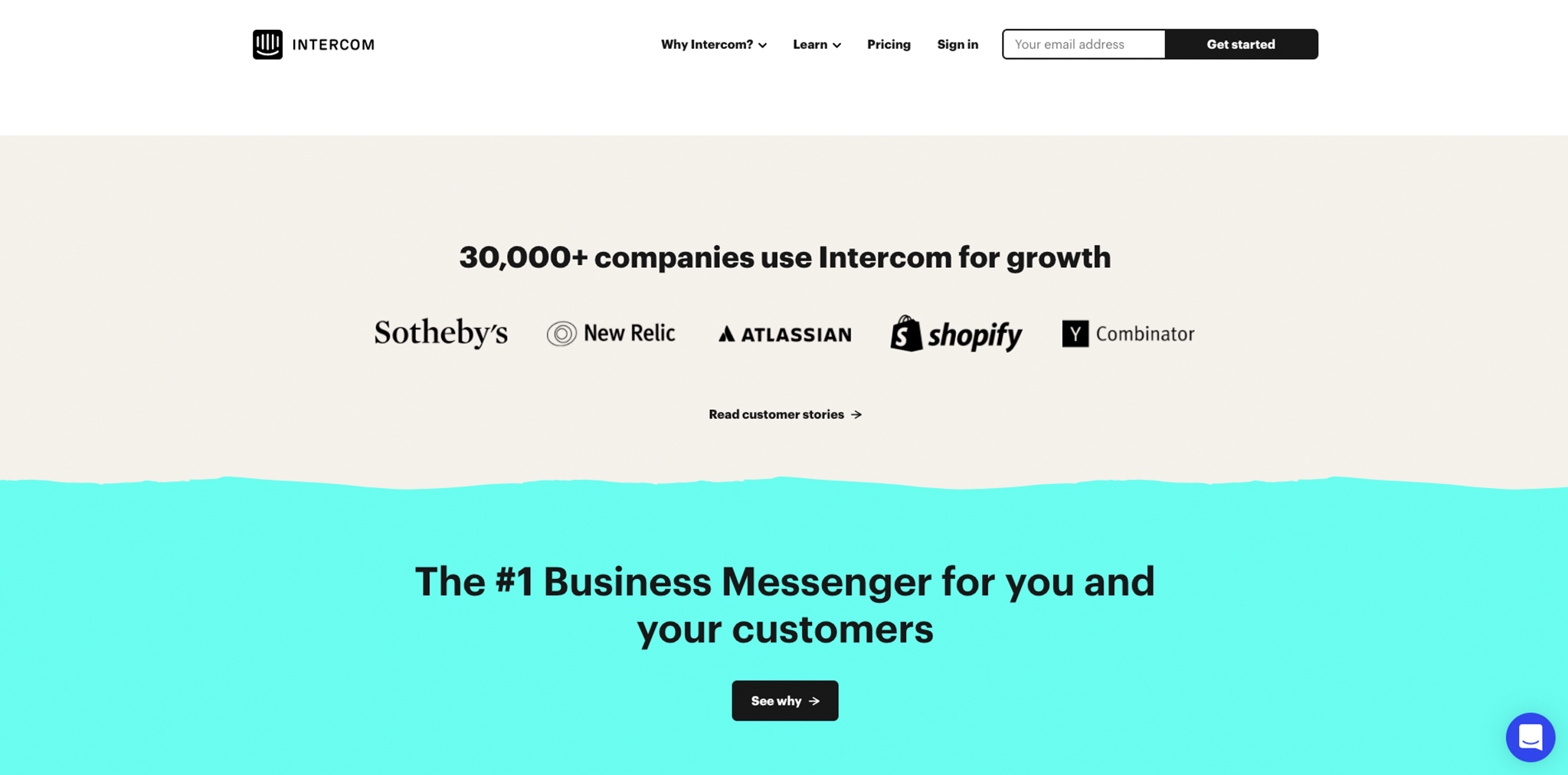 Screenshot of Intercom social proof on homepage