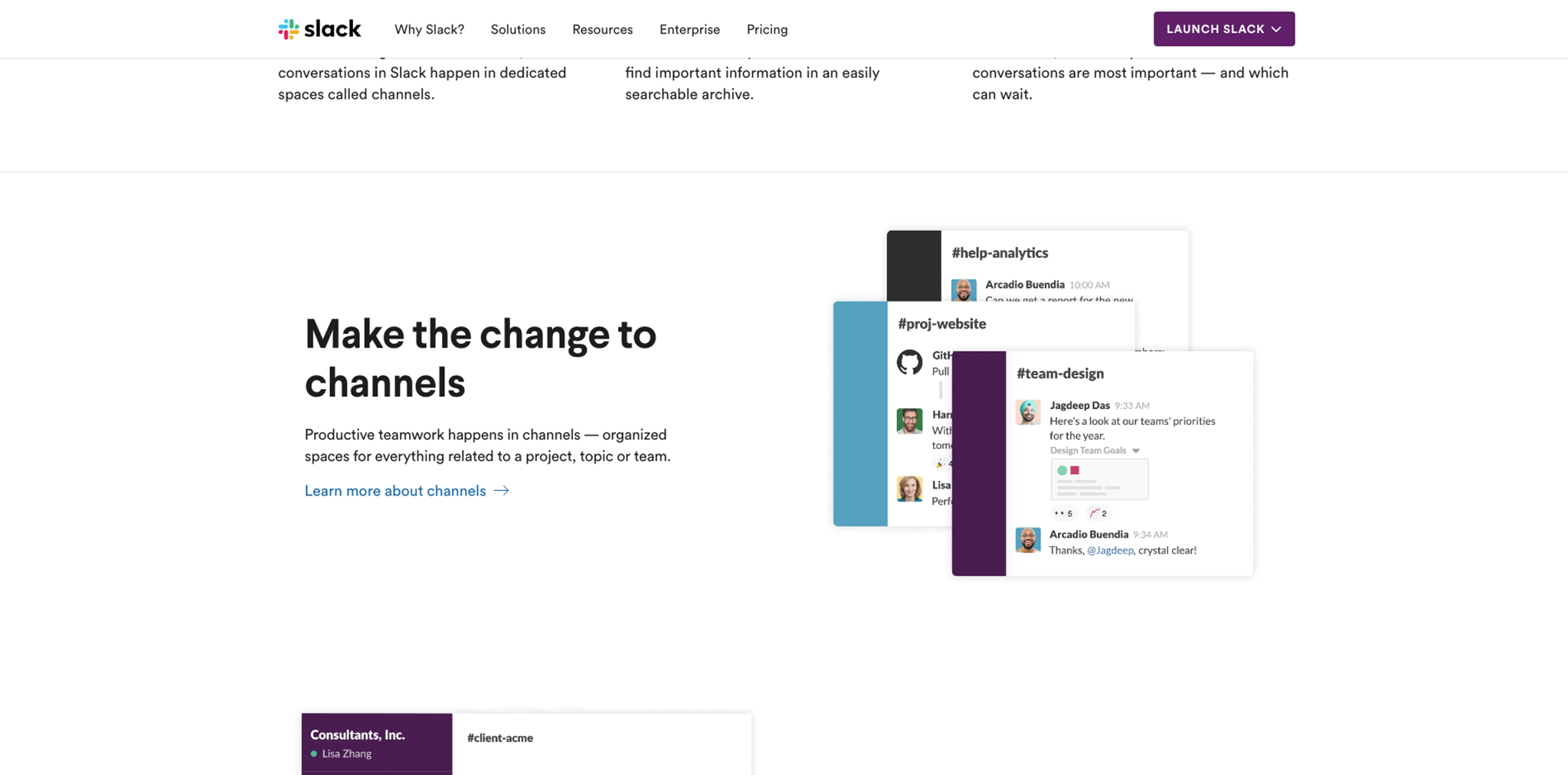 Screenshot of Slack channels