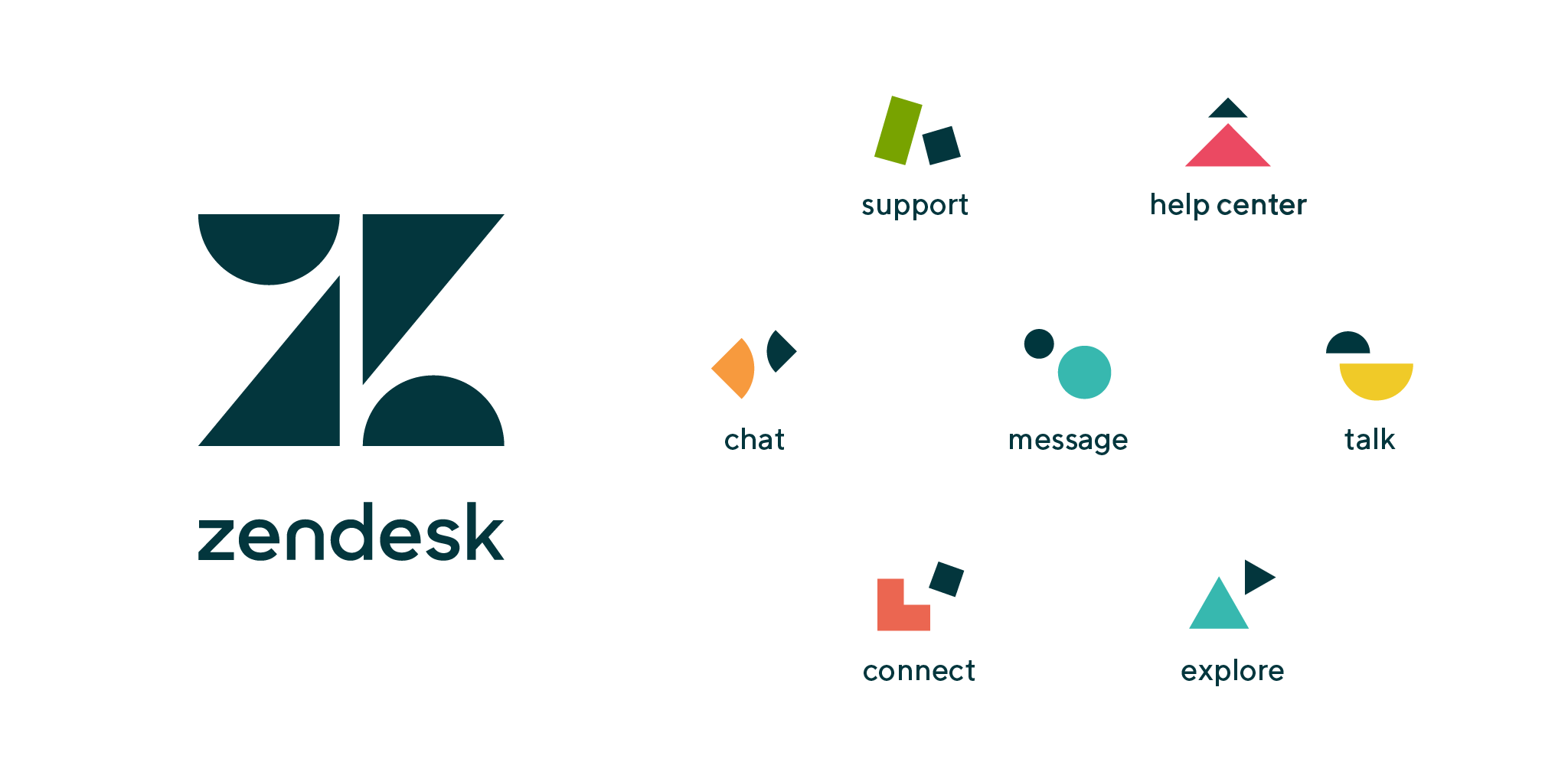 Graphic showing Zendesk logo and product icons