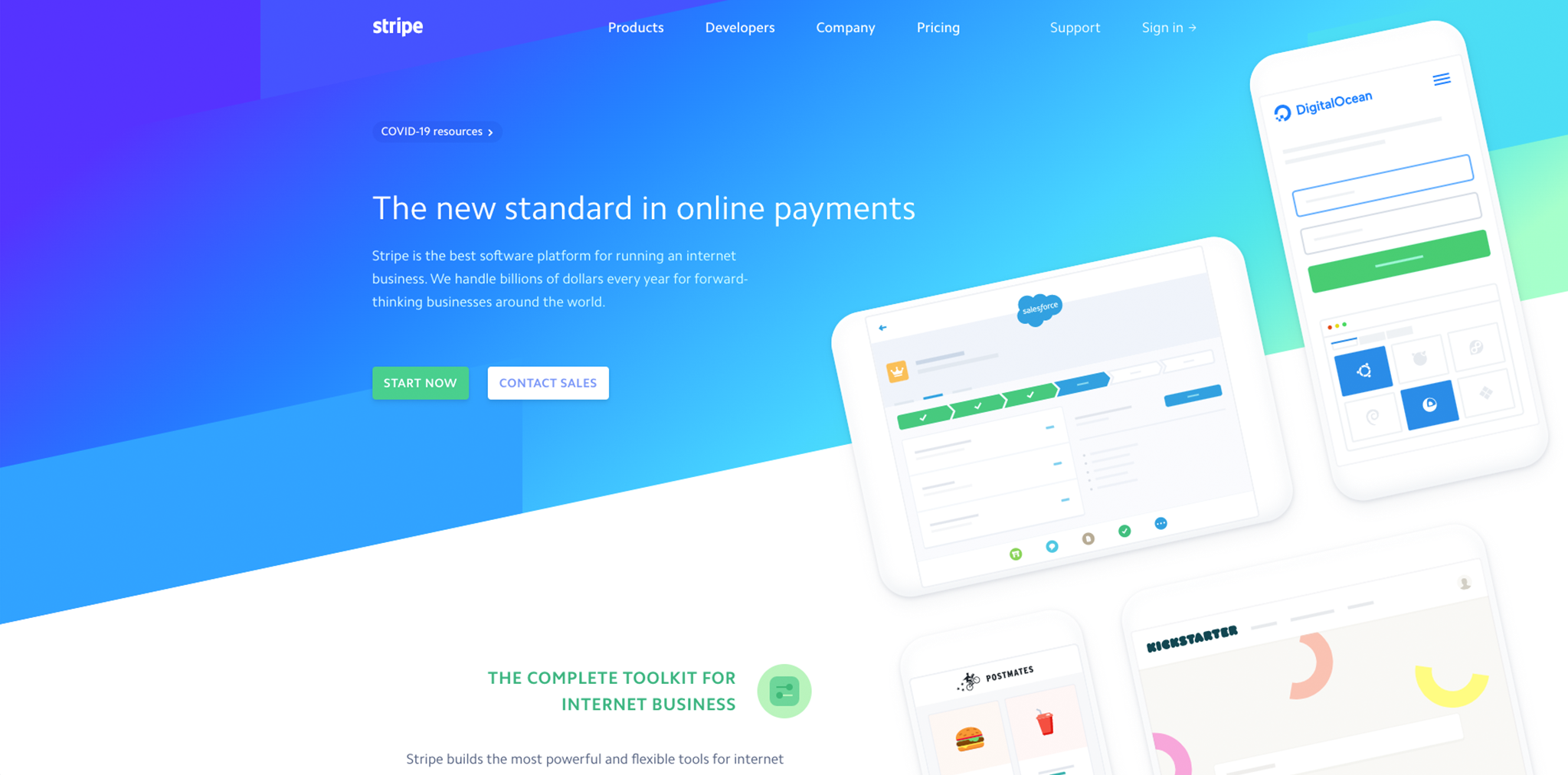 Screenshot of Stripe homepage