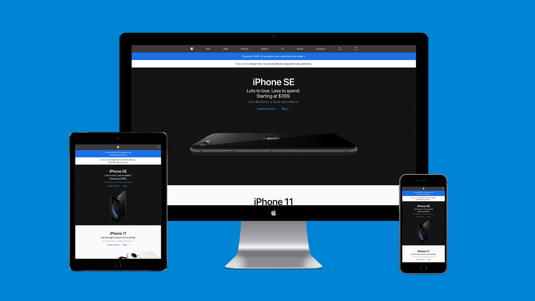 Illustration of responsive web design on the Apple website