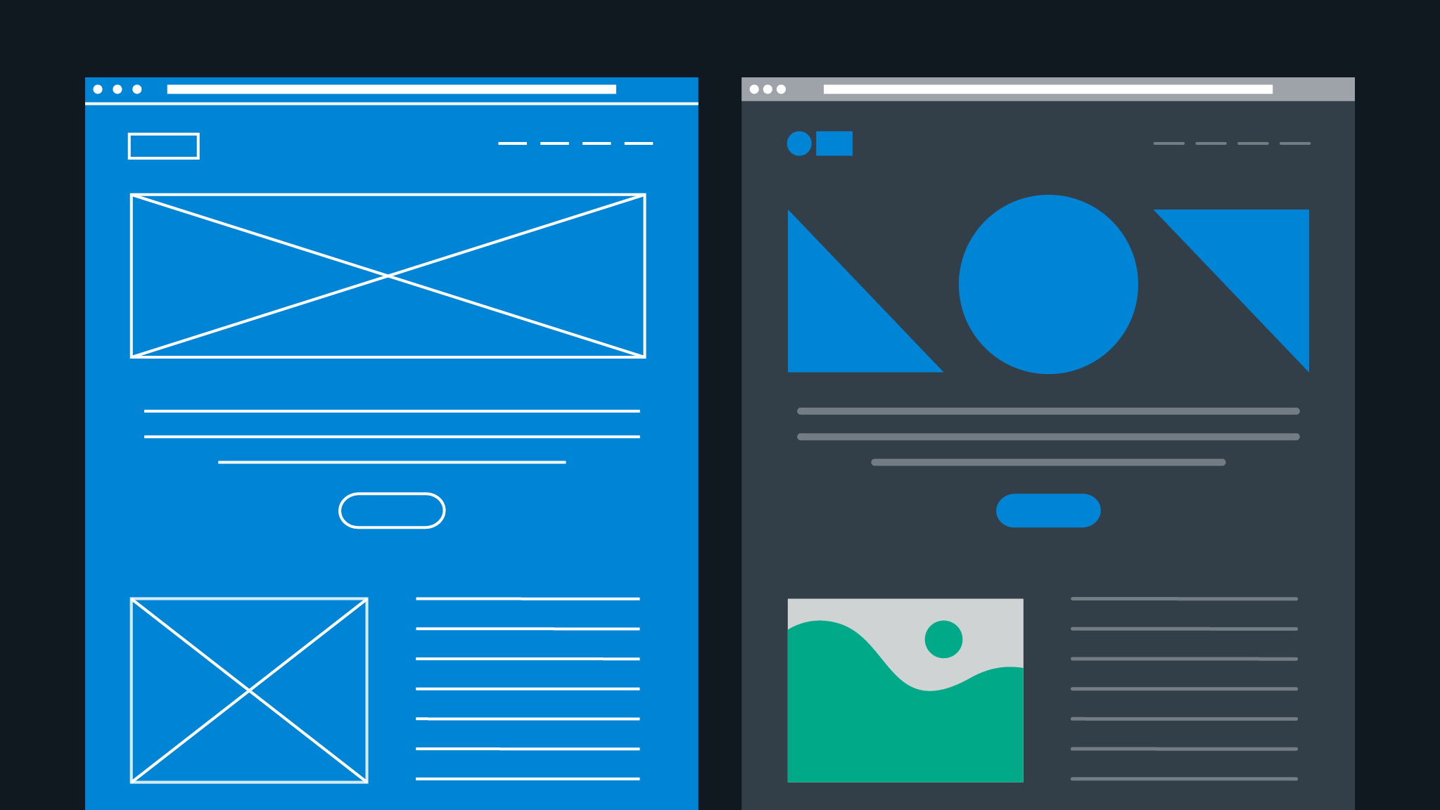 An illustration of wireframes next to a completed web design