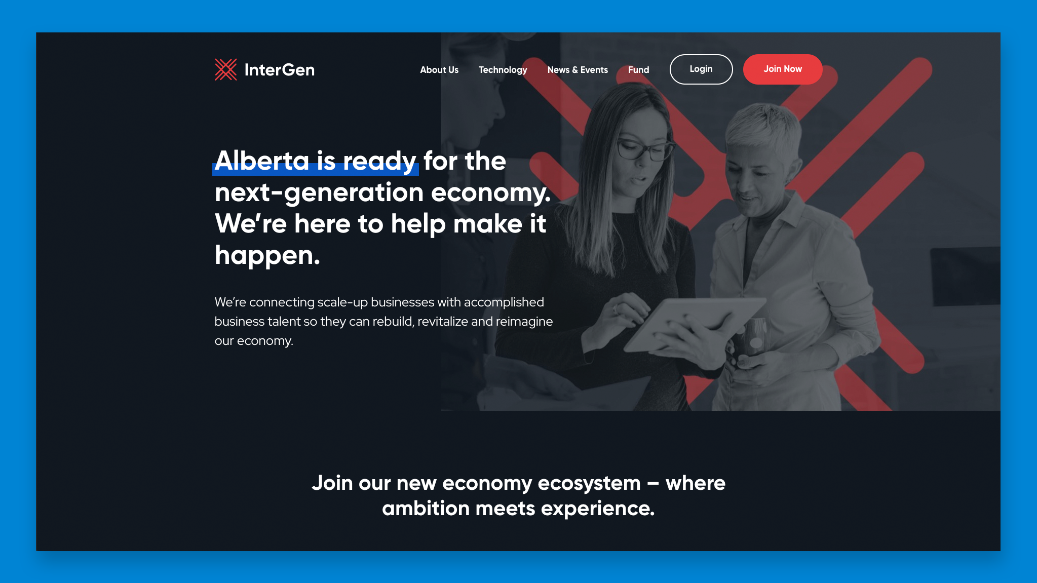 Screenshot of the InterGen website homepage