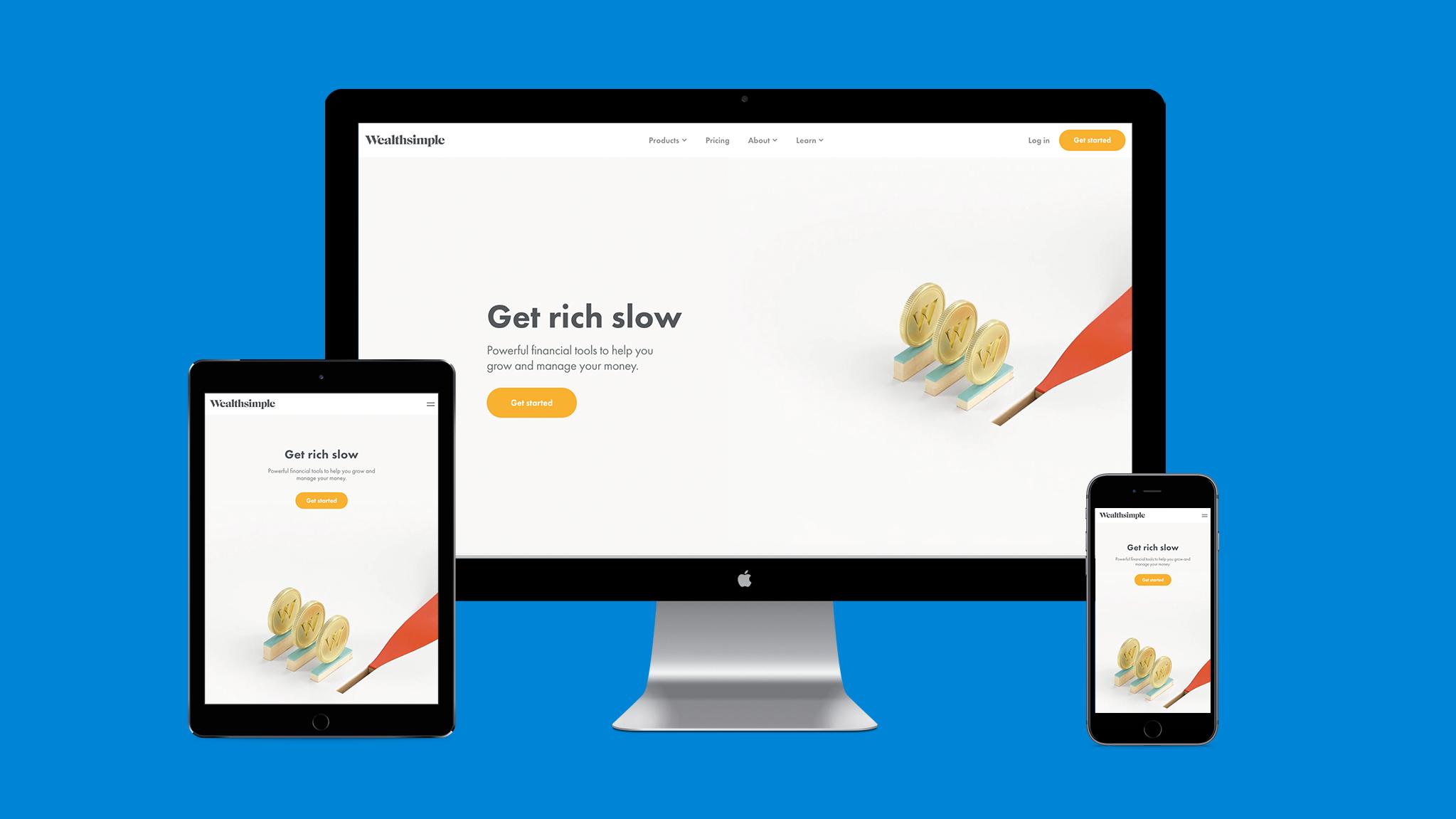 Illustration of responsive web design on the WealthSimple website