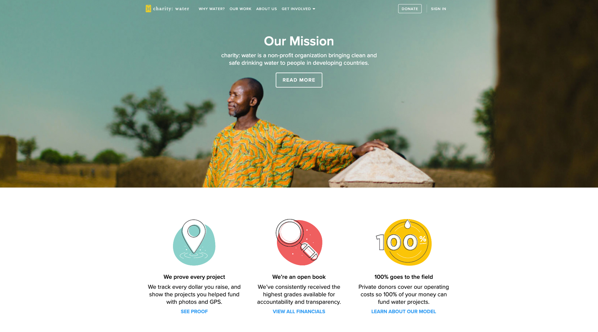 Screenshot of Charity:water, a nonprofit website