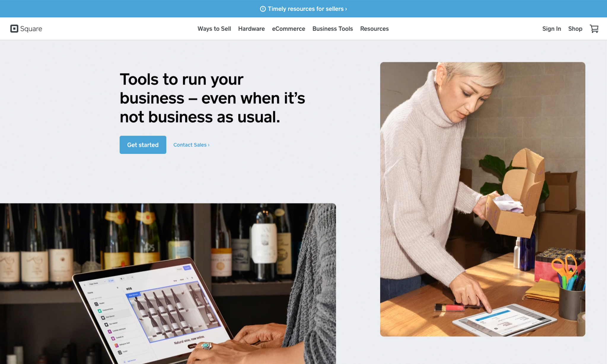 Screenshot of Square homepage, a financial website