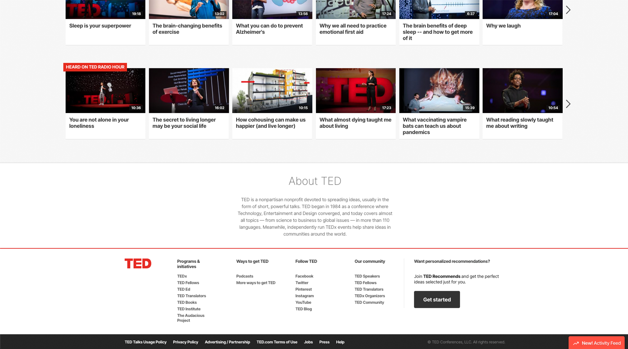 Screenshot of TED, a nonprofit website